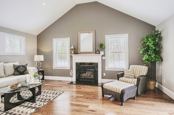 Staged Living Room with Wicker Chair